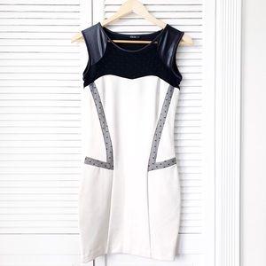 Kikiriki Black& White Mesh Mini Bodycon Dress NWOT